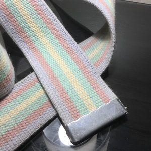 Vintage Woven Clothe Belt Silver Hardware DeRoyal